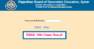 RBSE Secondary (10th Class) Exam Result 2021