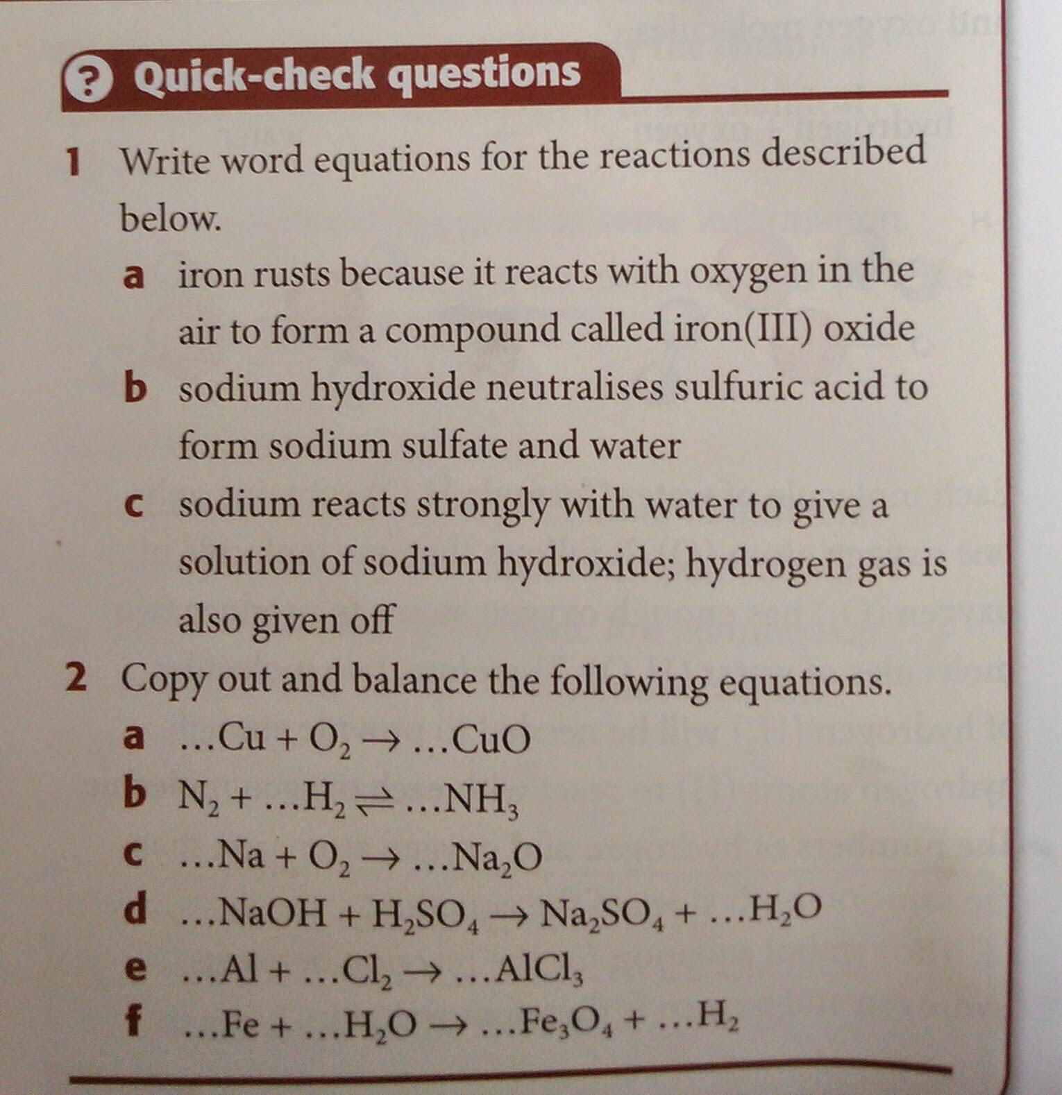 Igcse Chemistry Chemical Equation Worksheet