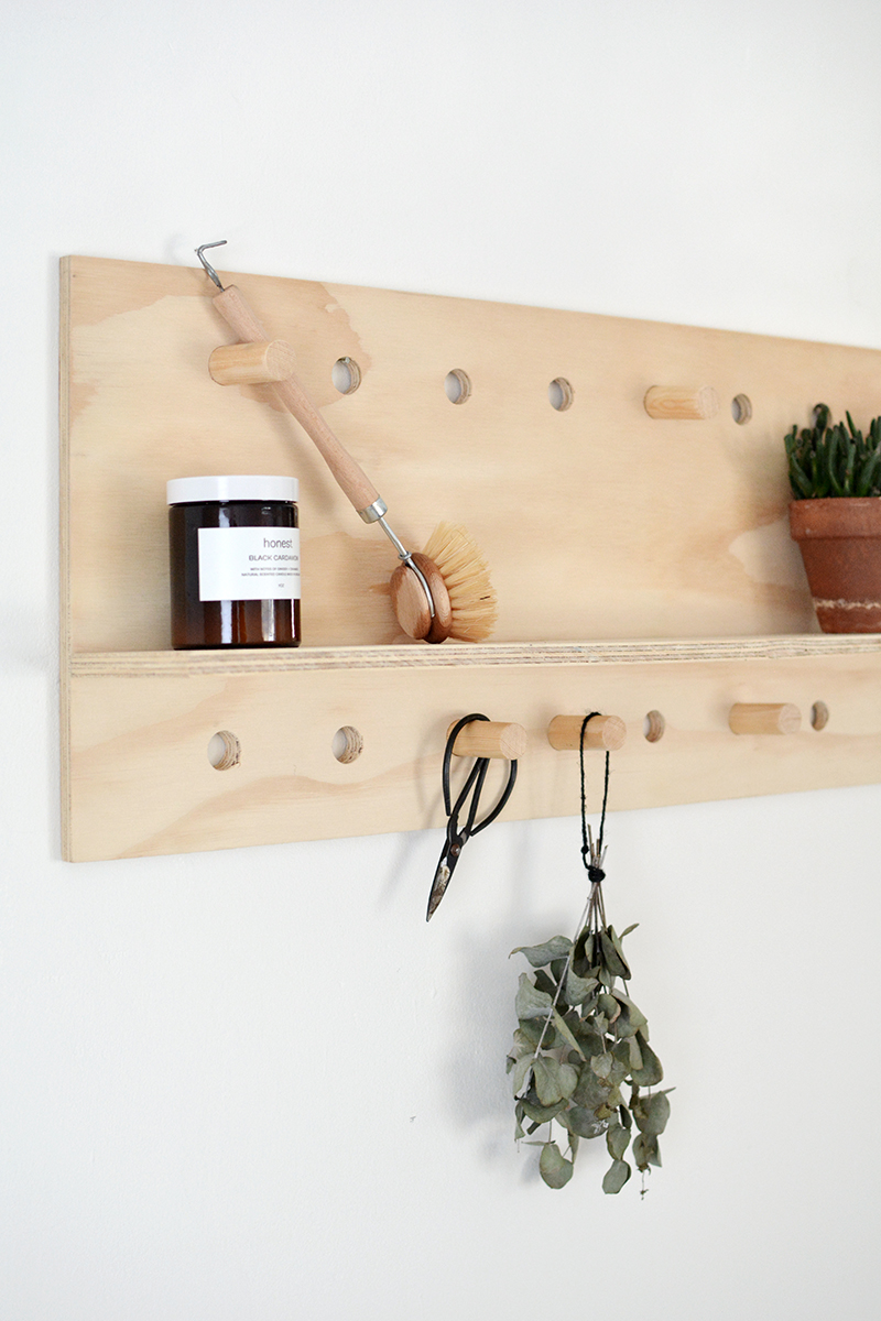 how to make a pegboard shelf