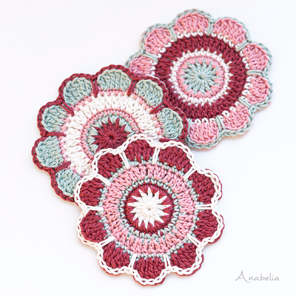 Spring Flowers coasters pattern by Anabelia Craft Design