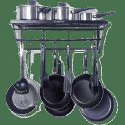 ZESPROKA Kitchen Wall Pot Pan Rack - Black