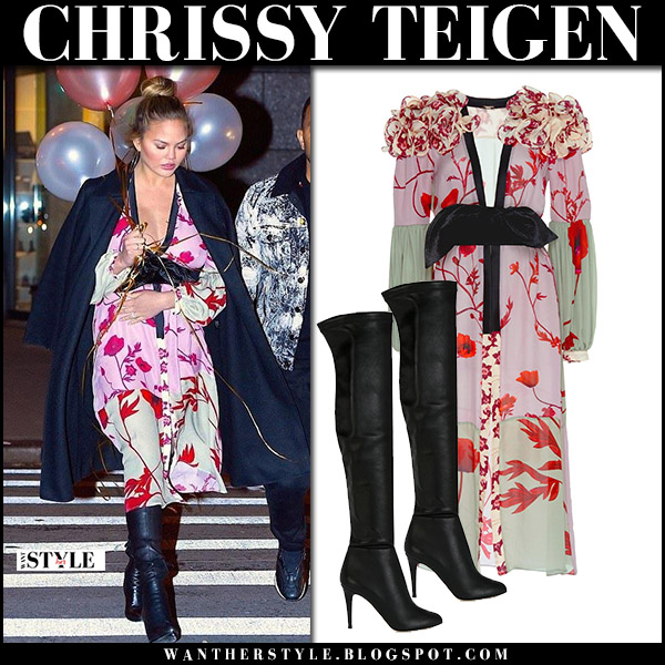 Chrissy Teigen in floral print midi dress kimono johanna ortiz and black boots jimmy choo toni date night style december 12
