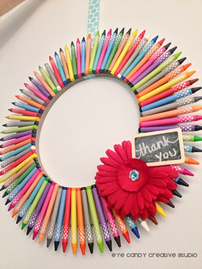 crayons, Target crayons, mini chalkboard sign, red daisy, wreath