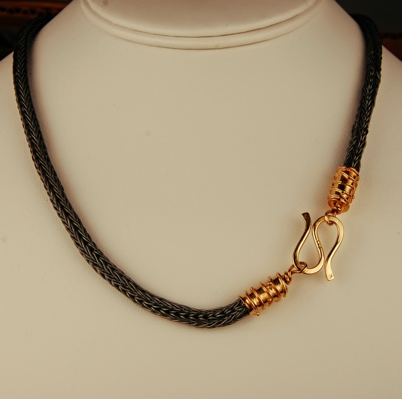 Handmade blackened pure silver chain with 18k gold caps and clasp