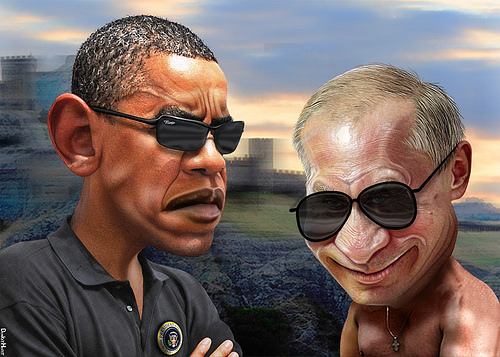 Russia's President Putin has completely outmaneuvered Turkey, Saudi Arabia and President Obama's neocon  cronies. (Illustration by DonkeyHotey)