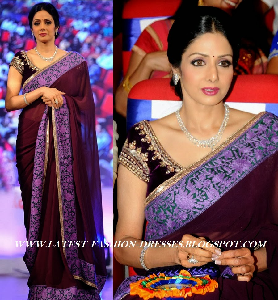 ACTRESS SRIDEVI IN VIOLET SAREE WITH VELVET DESIGNER BLOUSE