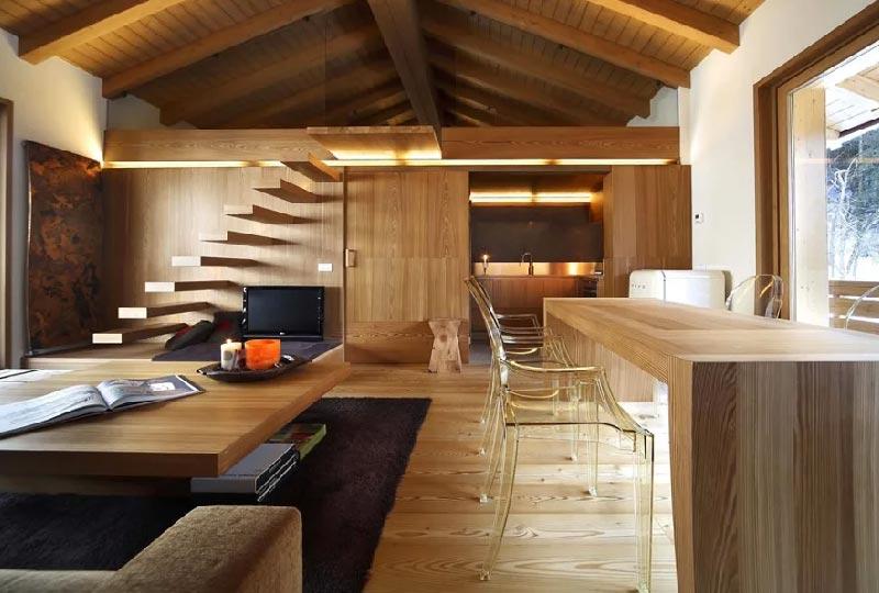interno casa prefabbricata in legno