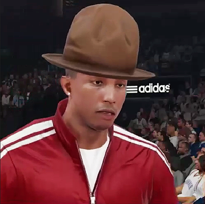 Pharrell Williams and His Hat in NBA 2K15