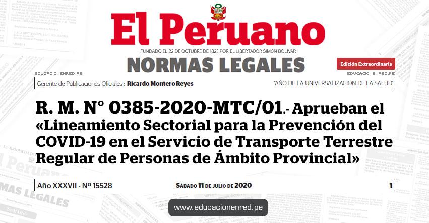 R. M. N° 0385-2020-MTC/01.- Aprueban el «Lineamiento Sectorial para la Prevención del COVID-19 en el Servicio de Transporte Terrestre Regular de Personas de Ámbito Provincial»
