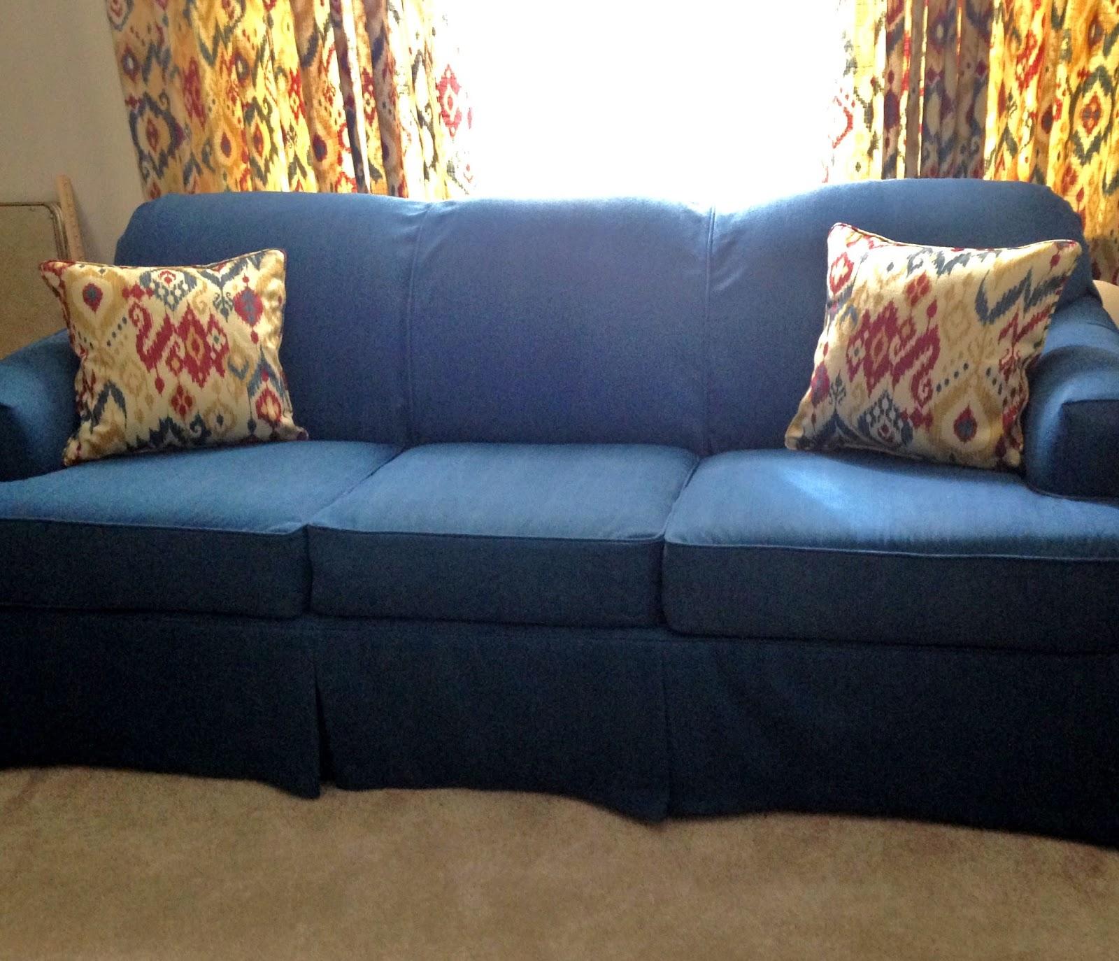 Sectional Sleeper Sofa Slipcovers Tucson Pam Morris Sews: Denim On A