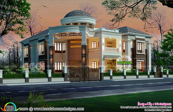 Grand Semi colonial style dome home design