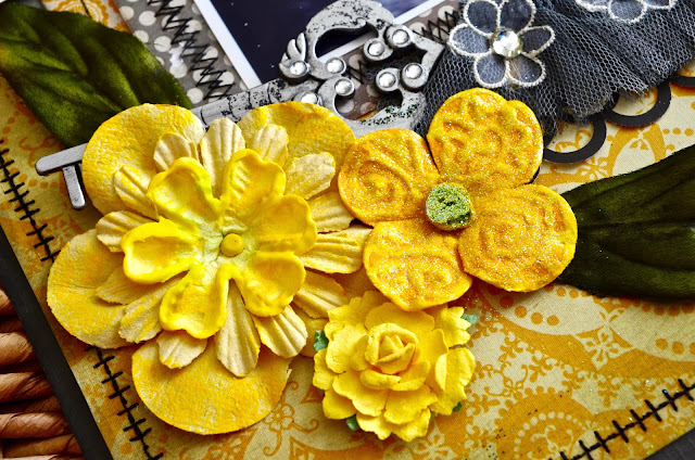 Yellow flowers with puff paint - Gray and Yellow scrapbooking layout with stitching, bling, flowers, and button string