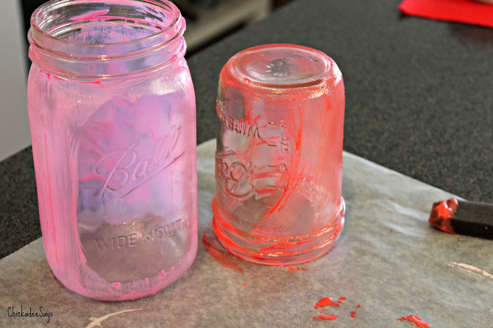 Do it yourself valentines day mason jar treats habits of a paint thoroughly washed mason jars with translucent glass paint leaving an oval as a window to see the candy through no need to be too careful solutioingenieria Gallery