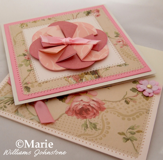 Pink rosette handmade hand crafted card design posy flower peach layered papers stitched cards and envelope