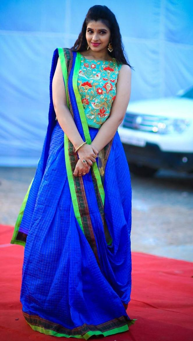 Telugu TV Anchor Syamala Hot Looking In Blue Lehenga Choli