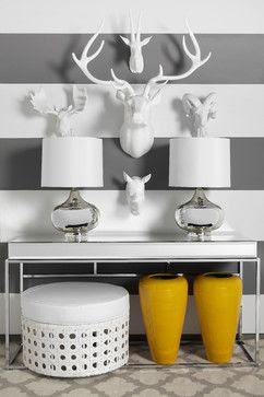 faux taxidermy, white deer heads, vignette