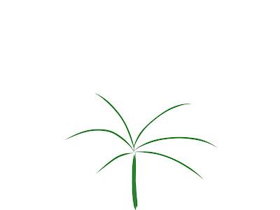 アイコン 「昼」 (作: 塚原 美樹) ~ 下のほうにヤシの木の軸を描く