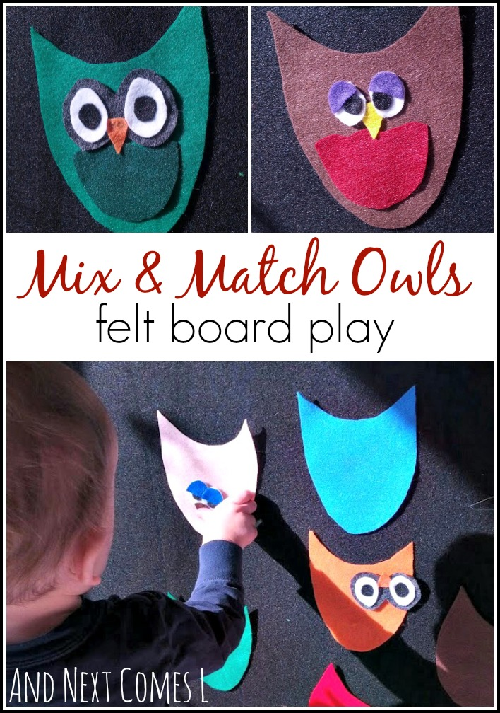 Felt board play for toddlers using mix and match owls from And Next Comes L