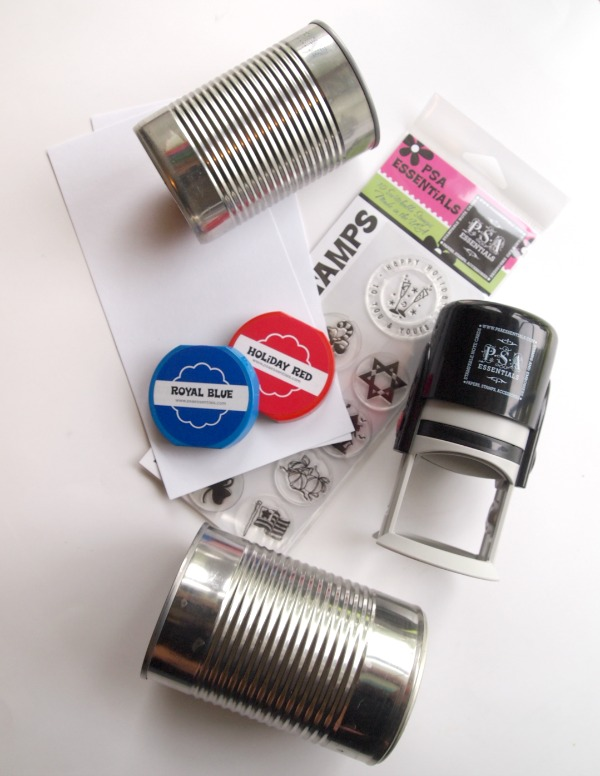 Supplies to create your own tin can candleholders.