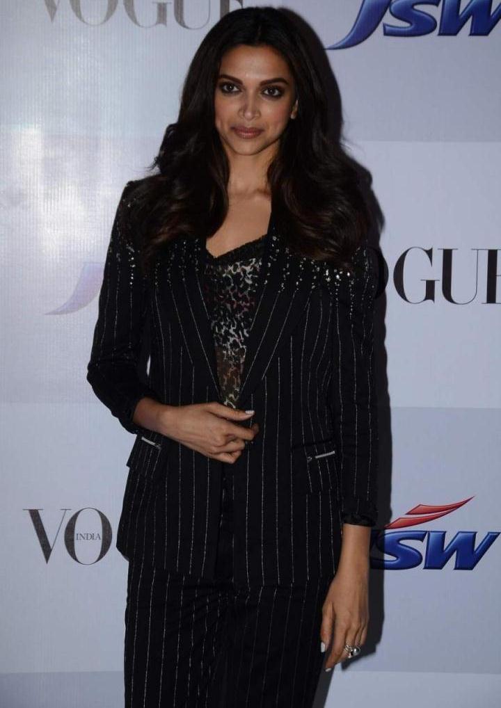 Actress Deepika Padukone Long Hair Photos In Black Shirt Pant