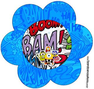 Tarjeta con forma de Flor de Minions Super Héroes.