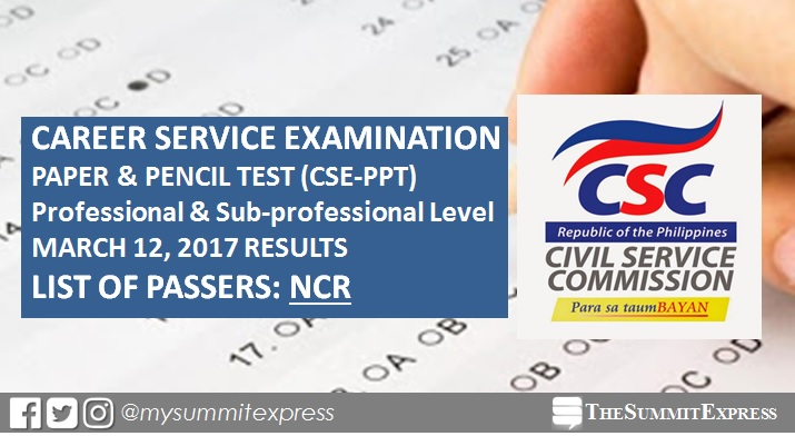 NCR Passers: March 2017 Civil service exam results CSE-PPT