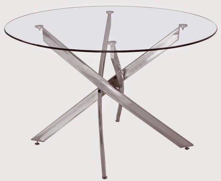 mesa metalica y cristal redonda