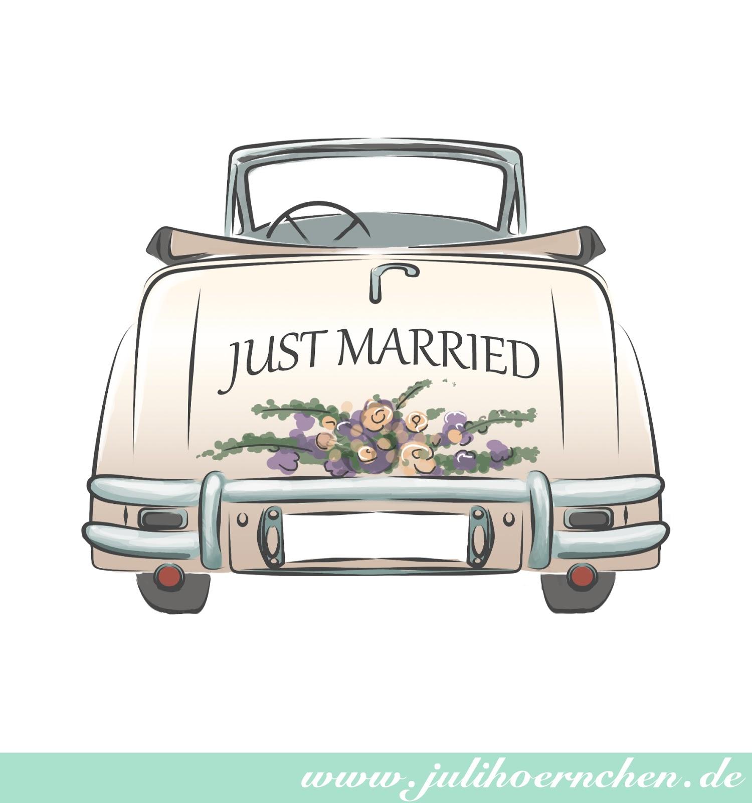 Ausmalbild Hochzeitsauto