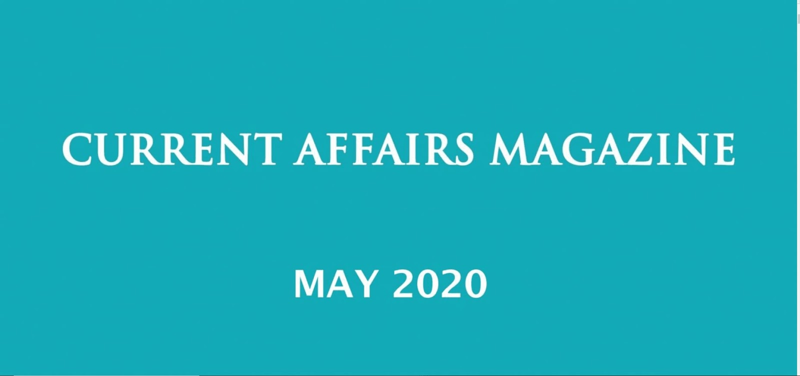 Current Affairs May 2020 iasparliament
