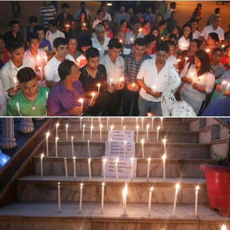 All Assam Gorkha Student's Union Candle Light Rally for Nepal Victims