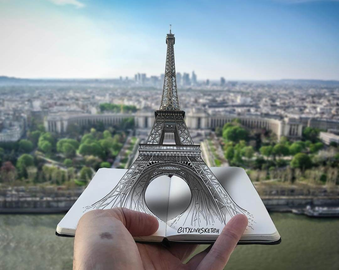 06-Eiffel-Tower-Pietro-Cataudella-3D-Architectural-Urban-Moleskine-Sketches-www-designstack-co