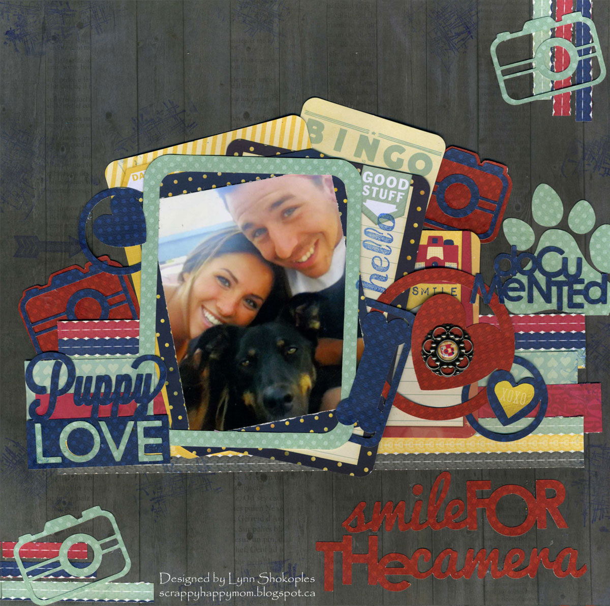 Smile For The Camera scrapbook page by Lynn Shokoples guest designing for 17turtles Digital Cut Files