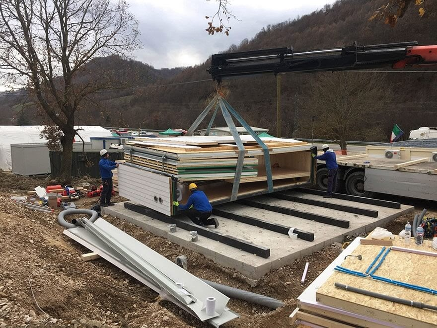 02-Positioning-on-the-Foundations-MADi-Home-Flat-Pack-A-Frame-Tiny-House-www-designstack-co
