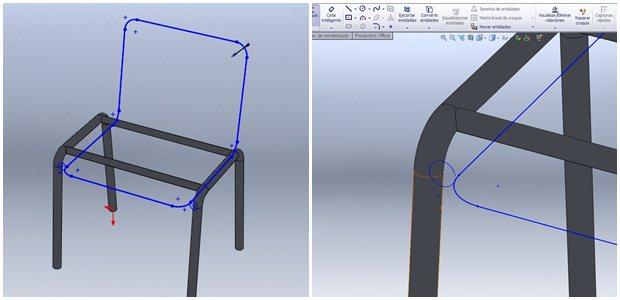Detalle de Croquis 3D de la base y el respaldo de la silla