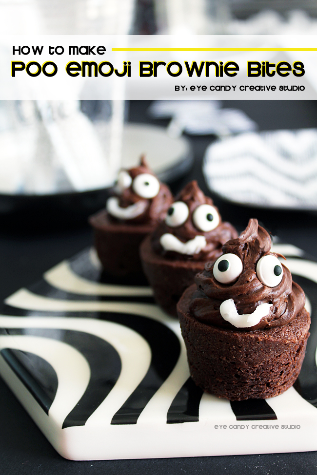 how to make poo emoji brownie bites, poo emoji, emoji birthday party