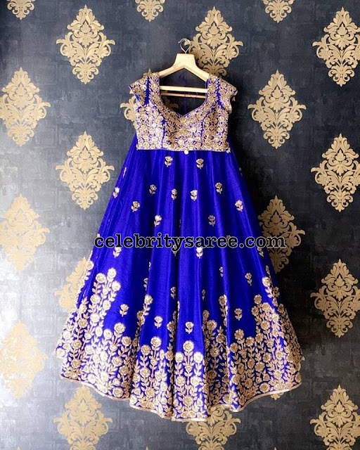 Rose Floral Lehenga in Royal Blue