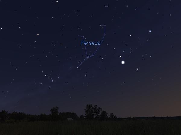 Ilustrasi rasi Perseus di langit utara menjelang pagi pada 11 Agustus 2014. Kredit Stellarium.