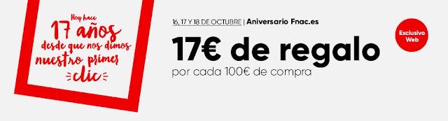 Top 15 ofertas 17 € de regalo por cada 100 € de compra de Fnac.es