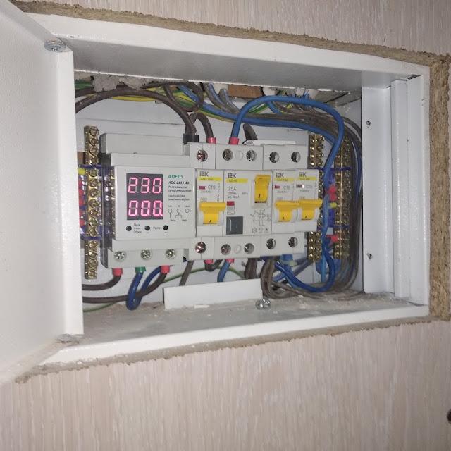 Пример работы электрика, Установка автоматов