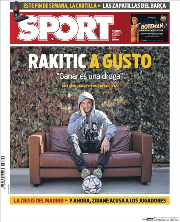 Portada del periódico Sport, miércoles 2 de marzo de 2016