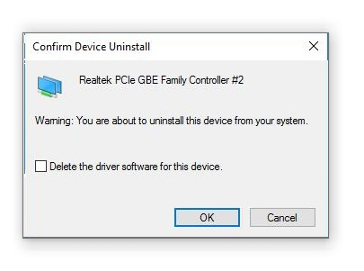 Confirm Uninstall Network Drivers