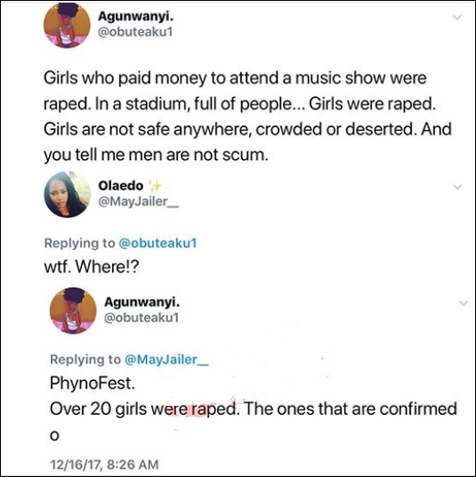 Tweet of 20 girls raped at phynofest