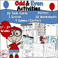 Odd and Even Activities Pack is loaded with games, centers, task cards, worksheets, and ideas.