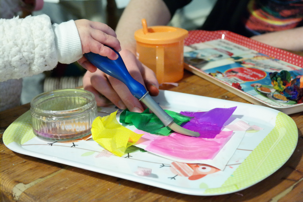 Easy Christmas Prep With Your Toddler - Tissue Paper Painting