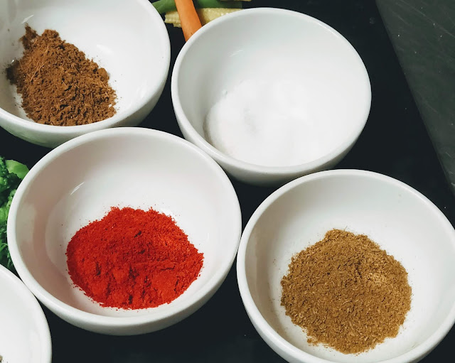 Chilli powder Cumin powder salt garam masala