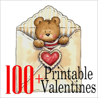 Let your little one hand out a fun Valentine this year at his Valentine class party with one of these 100 Valentine printables.  Whether you want a candy valentine or non candy valentine, you'll be sure to find what you need.