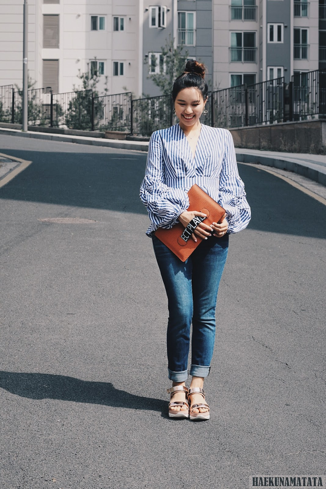 Striped Balloon Sleeve Top Levis Skinny Jeans Blogger Style OOTD