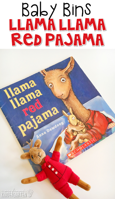 Llama Llama Red Pajama is our favorite red themed read aloud. These Baby Bin plans are perfect for learning with little ones between 12-24 months old.