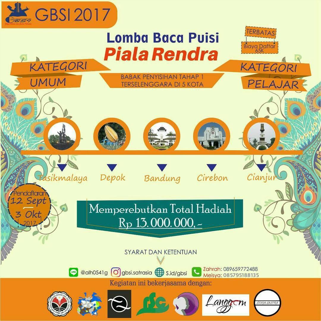 Lomba Baca Puisi Piala Rendra 2017 | Univ. Pendidikan Indonesia | Pelajar-Umum