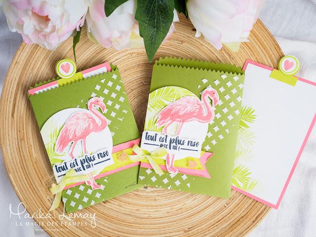pochette avec thinlits Mini sac de sucrerie big shot et jeu d'étampes Joyeux Flamant Stampin' Up!